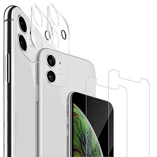 Agedate 4 Stück, Panzerglas kompatibel mit iPhone 11+Kamera Panzerglas Displayschutzfolie, 9H Härte, Anti-Kratzen, Anti-Öl, Anti-Bläschen, Hülle Freundllich, 2.5D Runde Kante