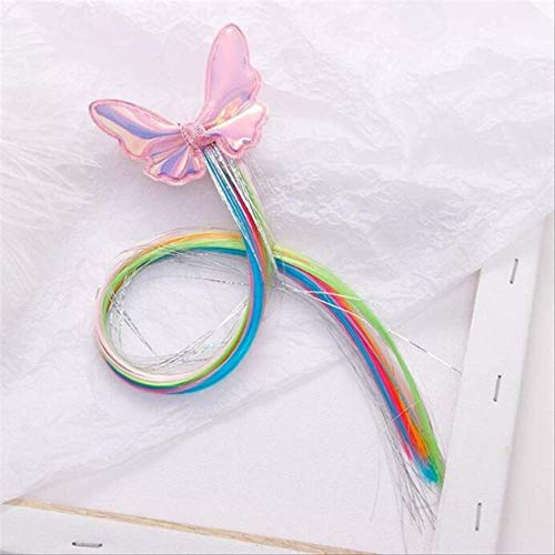 Child Twist Hair Clip Simple Barrette Butterfly Unicorn Hair Rope Accessories Kids Wig Rope Hair Head Wear 40cm pink butterfly