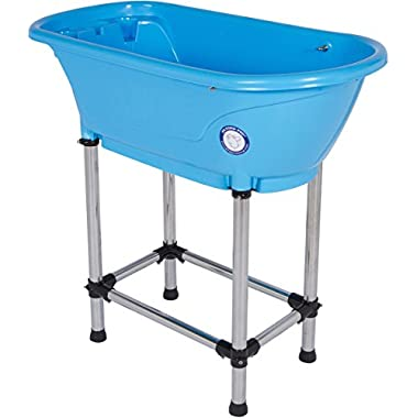 Flying Pig Pet Dog Cat Washing Shower Grooming Portable Bath Tub (Blue, 37.25 x19.25 x35.25 )