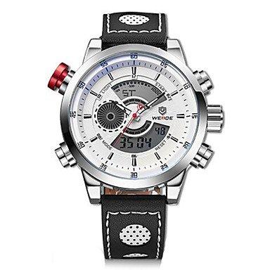 XKC-watches Herrenuhren, Weide® Luxusmarke echte Männer Leder-Uhr-Quarz digital Mode Militär Sport Armbanduhr (Farbe : Weiß-Silber, Großauswahl : Einheitsgröße)