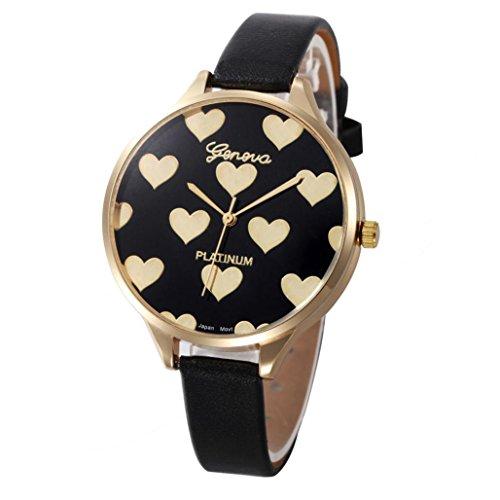 Xinantime Relojes Mujer,Xinan Reloj de Pulsera Analógico de Cuarzo Cuero Imitación (Negro)