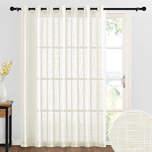 RYB HOME Linen Textured Sheer Curtains for Large Window Semi Sheer Privacy Curtains for Bedroom Living Room Sheer Backdrop Canopy Bed Curtains, W 100 x L 84 inch, 1 Panel, Natural