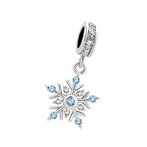 SBI Jewelry Winter Christmas Dangle Charms Blue Snowflake Charm Gift for Daughter Sister Mum Birthday