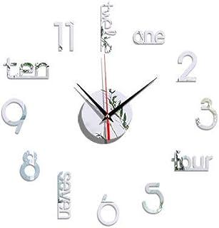 FFAA Reloj de Etiqueta de Pared Reloj de Pared Digital de acrílico Etiqueta de Fondo de Espejo estéreo 3D