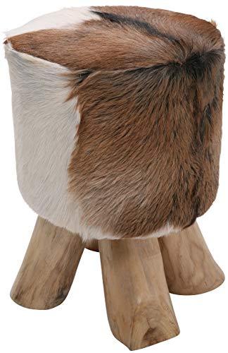 Kare Design kruk Flint Stone, unicaat van koeienhuid met houten poten, Bruin (H/B/D) 45x35x35cm