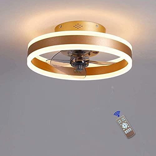 Ventilador de techo con luces y control remoto, luces de techo modernas dimmilizables 60W, luz de ventilador para sala de estar, dormitorio (Color : Golden)