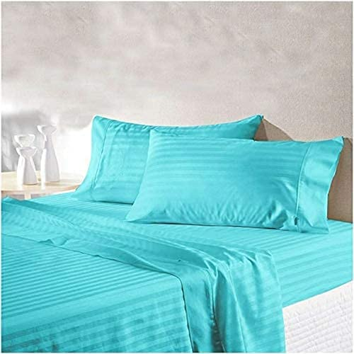 YUKU 210 TC Glace Cotton Satin Stripes Plain Bedsheet for Double Bed King Size with Two Pillow Covers for Home Hotels Guest House Sky Blue