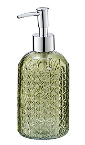 WENKO Seifenspender Vetro Grün rund Echtglas - Flüssigseifen-Spender, Spülmittel-Spender Fassungsvermögen: 0.4 l, Glas, 8.5 x 19 x 7.5 cm, Grün