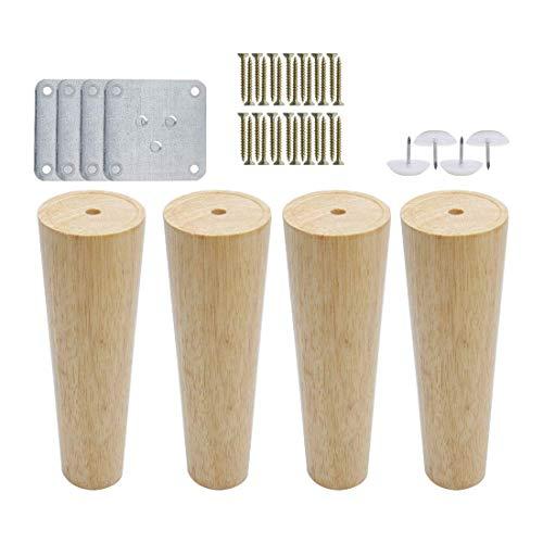 YeVhear - Juego de 4 patas redondas de madera de 7 pulgadas, muebles de piernas, sofá, silla, escritorio, armario, banco y patas de repuesto