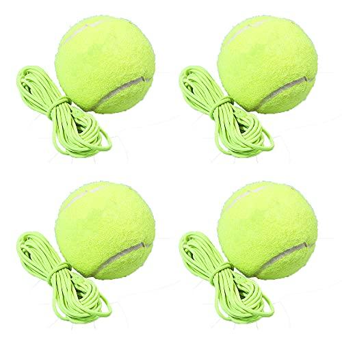 Kaimeilai 4 palline da tennis con cordino, per allenare il tennis, con corda, per bambini, adulti, principianti