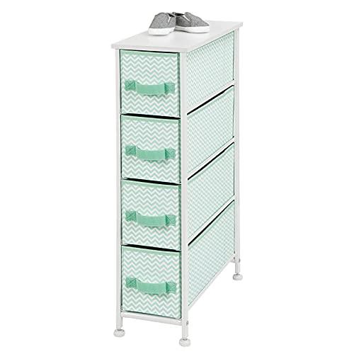 mDesign Narrow Vertical Dresser Storage Tower Furniture - Metal Frame, Wood Top, Easy Pull Fabric Bins - for Kid's Bedroom, Hallway, Entryway, Closet, Dorm - Chevron Print, 4 Drawer - Mint Green/White