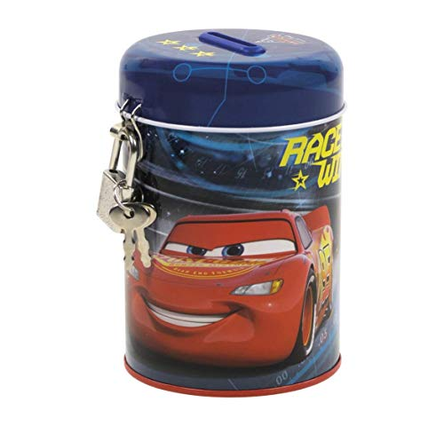 Theonoi Disney Cars Spardose Schatzkiste Sparbuchse Sparschwein Dose Box aus Metall mit Schloss tlles Geschenk
