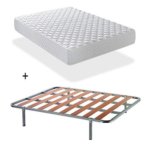 MATTRESS BED SET STARLET: UK Super King Memory Foam Mattress, 15 cm. high and Bed Base two (2).3x'6´3'Size 180x200 + Strong Iron Frame and Beech Wood Slats + 8 steel feet 30 cm high.