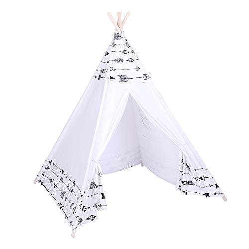Tidyard Tent Children Teepee Tent Baby Indoor Dollhouse with Small Coloured Flags roller shade and pocket Arrow Pattern