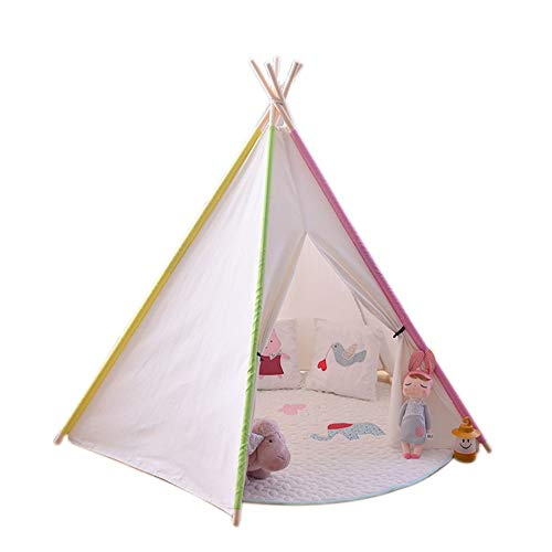 YLJB Kids Play Tent Kids Teepee Tent Children Play Tent For Baby Indoor And Outdoor Playing Foldable Tipi Tents With Fun Decorations Children's Play House (Color : White, Size : 110x110x155cm)