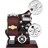 ジュエリーボックス、ヴィンテージメカニカルムービープロジェクターミュージカルジュエリーボックス、リビングルームTVキャビネットオフィス装飾用化粧鏡付きミニクラシックジュエル収納ケース