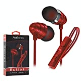 Ultra Acellories Bullets Superior Fabric W Built-in Mic High Performance Earbuds for iPhone Samsung Android HTC LG Pixel (Red)
