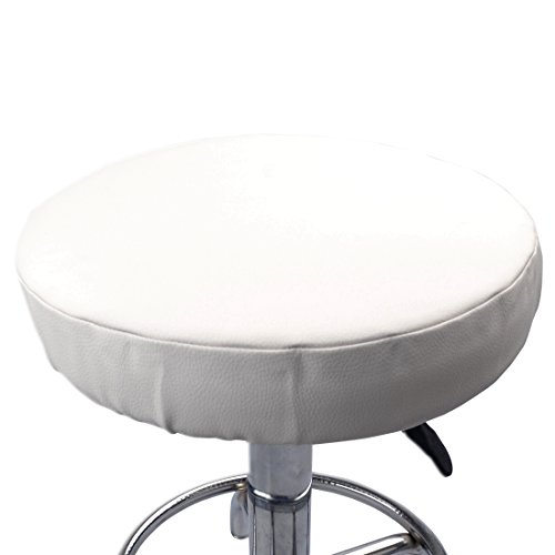 Weichuang tragbarer runder Hocker-Bezug mit DREI Schichten Stuhlschutz Kunstleder Schonbezug für Zuhause, weiß