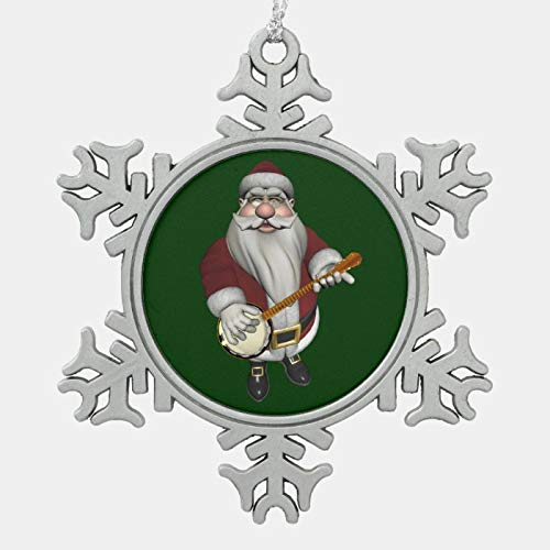 JamirtyRoy1 Christmas Ornament, Santa Claus Playing Banjo Snowflake Pewter Christmas Ornament, Xmas Tree Hanging Decorations, Home Decor, Keepsake Gift, 3 Inch Snowflake Ornament