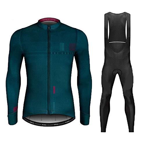 Polar Térmico de Invierno Maillot de Ciclismo, Ropa de Bicicleta MTB para Hombre con Pantalones con Pechera de Gel 9D Cálidos (Color : C, Talla : S)