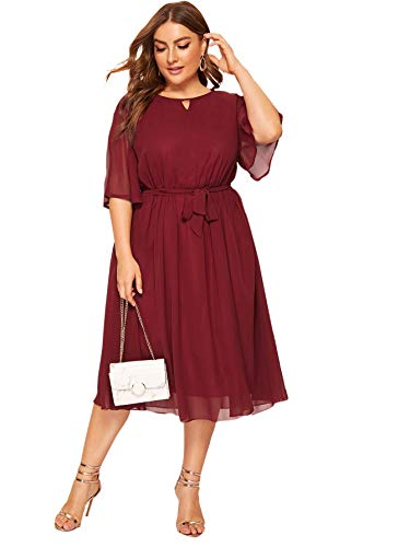 Romwe Women's Plus Size Mesh Elegant Half Ruffle Sleeve Belted Cocktail Party Swing Midi Dress Burgundy 2XL