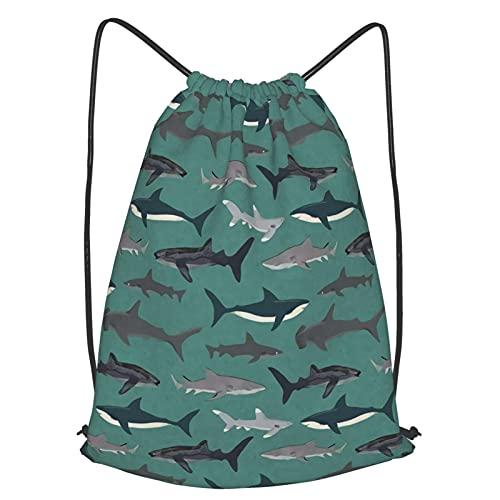 Tcerlcir Mochilas Casual Lona para Estudiantes Escuela Bolsa de Cuerda Criatura del océano tiburón Bolsas de Gimnasia Mochila Cuerda para Niño Chica Hombre Mujer