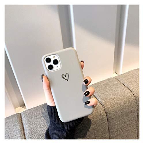 Glqwe Dibujos Animados Lindo del corazón del corazón del Amor de la Historieta para iPhone 12 Mini Pro MAX 6 7 8 11 S Plus X S XR Moda MAX Mayor OFT TPU (Color : Grey, Material : For iPhone 8 Plus)