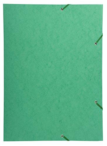 Exacompta 59515E Sammelmappe (Gummizug, 3 Klappen, Manila Karton 600 gm², für DIN A3, 29,7 x 42 cm) 1 Stück grün