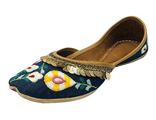 Step n Style Damen Jeansjacke Punjabi Jutti Ethno Mojari handgefertigt Juti, Blau - blau - Größe: 37.5 EU