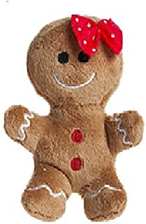 10cm Plush Gingerbread Man Soft Toy with Red Bow - Christmas Soft Toys - Christmas Decorations