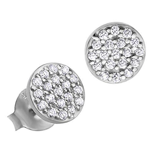 LOTUS Pendientes de aro de plata 925 para mujer, con circonitas, plata 925 JLP1258-4-1