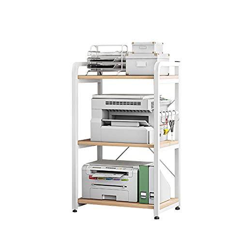 Plasaig Caja de escritorio con ruedas y soporte de impresora, estantería de almacenamiento multifuncional para oficina, cocina, salón con patas ajustables y 5 ganchos (blanco, 3 tiras)