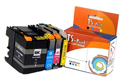 TS-Print Pack de 4 Cartuchos de Tinta compatibles para Brother LC-125XL LC-129XL BK/C/M/Y MFC-J6520DW MFC-J6720DW MFC-J6920DW