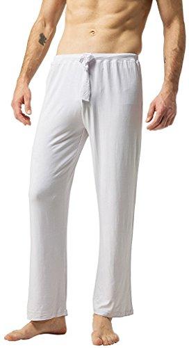 ZSHOW Pantalones de Yoga Suaves Largos Pijama Bolsillos Inclinados de Punto Hombre Blanco Large