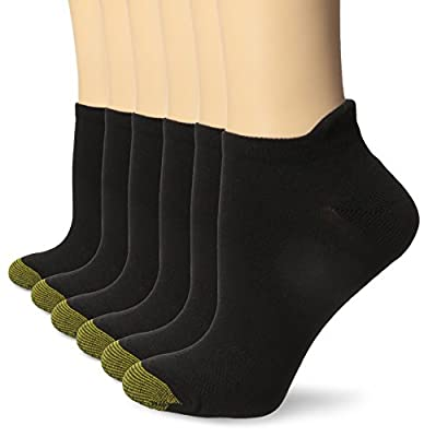 Gold Toe Women's Sport Vacation No Show Socks with Tabbed Back, 6 Pairs, Black, 6-9
