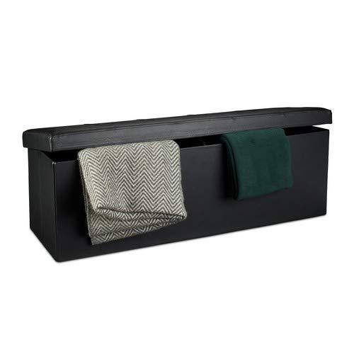 Relaxdays Faltbare Sitzbank HxBxT 38 x 114 x 38 cm, XL Kunstleder Sitztruhe, Aufbewahrungsbox mit Stauraum, schwarz