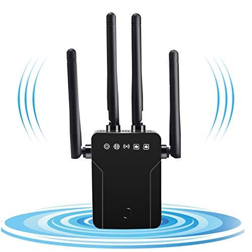 GOBRAN - Repetidor wifi 1200 Mbps, amplificador wifi Dual Band 5 GHz/2,4 GHz con puerto Ethernet, 4 antenas externas, AP/Puntos de acceso/router/repetidor de modo, cubre el cartel hasta 200 m2