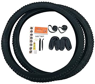 26 Inch Bike Tires, Mountain Bike Bicycle tire, Off Road, Durable Wire Bead Tires, 26in x 2.10 Replacement Tire Bundle Kit, 26in Inner Tube, 26x2.10, Rubber Rim Liner, Set of Levers