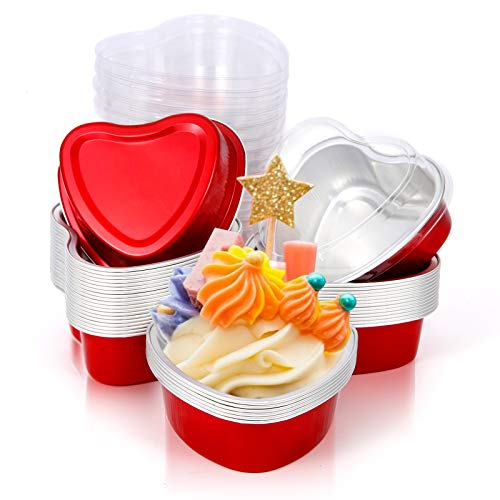 Aluminum Foil Heart Cake Pan,20 Sets Heart Shaped Cake Pans with Lids 3.4 oz,Disposable Mini Baking Cupcake Cups,Muffins Liners,Desserts Flan,Disposable Foil Ramekins Containers Tins with Lid(red)