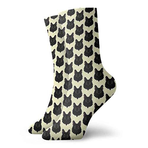 QUEMIN Miss Jessie Black Cat Calcetines Calcetines cortos deportivos clásicos de ocio adecuados para hombres, mujeres, calcetines deportivos, cómodos, transpirables, casuales, 30 cm