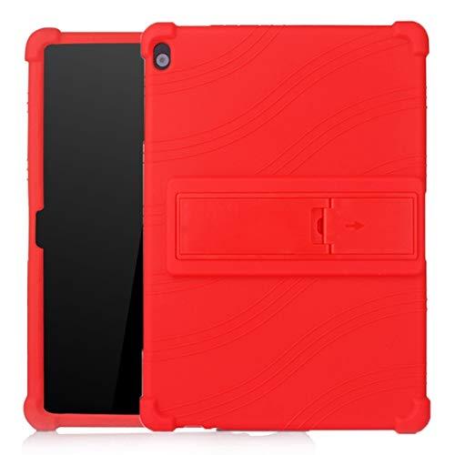 XHEVAT Funda protectora de silicona para tablet Lenovo Tab M10 con soporte invisible, color rojo