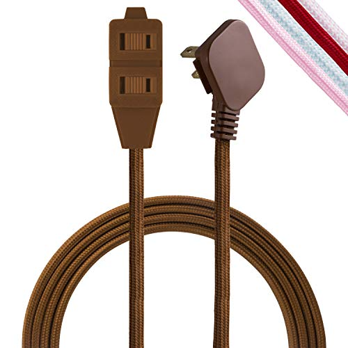 Cordinate Designer 3-Outlet Extension Cord, 8 Ft Braided Cable, 2-Prong Power Strip, Slide-to-Lock Safety, Low-Profile Flat Plug, Polarized, ETL Listed, Brown, 39982-T1