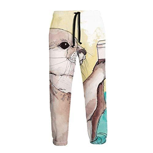 Lewiuzr Pantalones Deportivos Tipo Jogging con Pintura de Nutria en Acuarela para Hombre Pantalones Deportivos Informales de Lana con cordón y Bolsillos