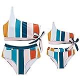 DQANIU ❤️Mutter und Kinder❤️ gestreifter Damen- / Mädchen-Badeanzug mit Zwei Schultern und passender Badeanzug-Kleidung, Familien-Bikini