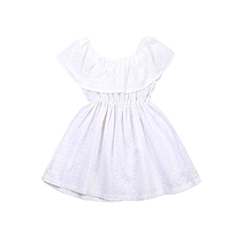 Toddler Kids Baby Girl Ruffle Off Shoulder Summer Lace Mini Dress White (2-3 Years, White)