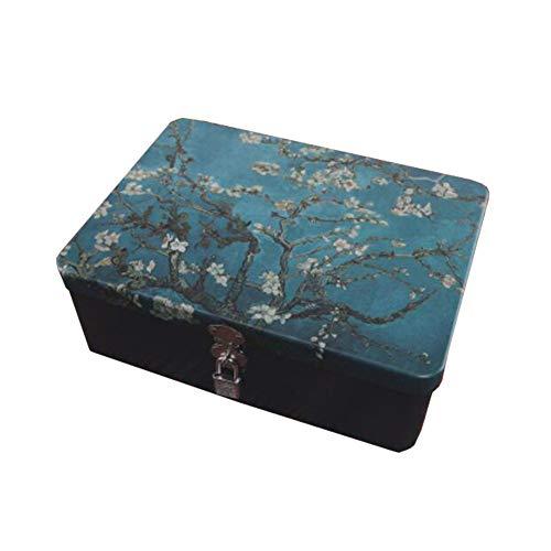 Chinashow Boîtes à Bijoux décoratives pour Organiseur en métal - Boîte de Rangement en Fer Blanc avec Coffret Cadeau avec Serrure, Fleur d'abricot