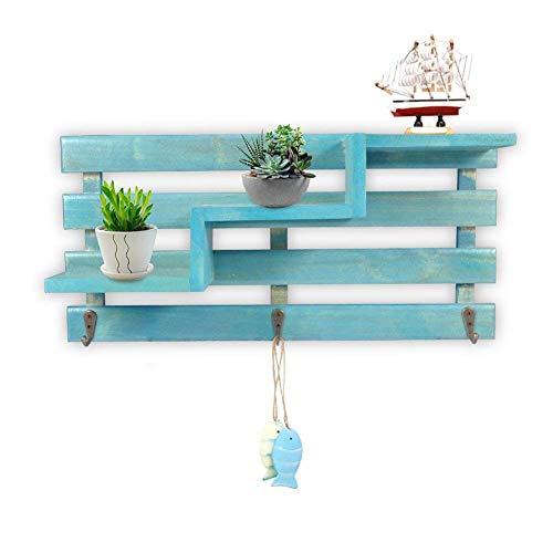MARGUERAS - Estantes flotantes de madera para almacenamiento de tronco, forma de pared, organizador, color azul