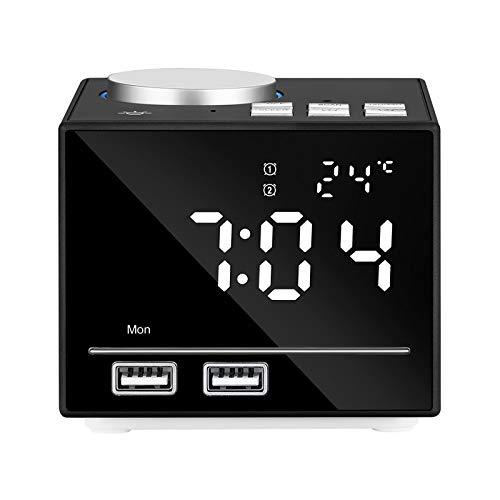 HCCX EU Plug LED Digitale Bluetooth Alarm Klok Radio Luidspreker met Dual USB Interface Opladen Draadloze Stereo Subwoofer Muziekspeler