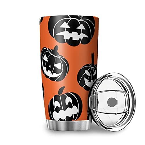 Facbalaign Taza de té de Halloween con diseño de calabaza naranja, acero inoxidable, doble pared, 600 ml, color blanco