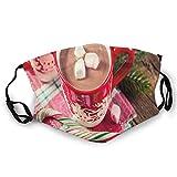 Foto de fondo borrosa de chocolate caliente en tazas con caramelos de malvaviscos cara M-A-S-K lavable Bandana para adultos hombres mujeres
